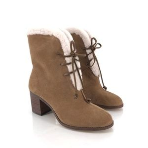 Splendid Cassidy Faux Fur Lace-Up Block Heel Boots